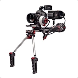 Zacuto Z-Finder EVF used on a typical hDSLR camera rig
