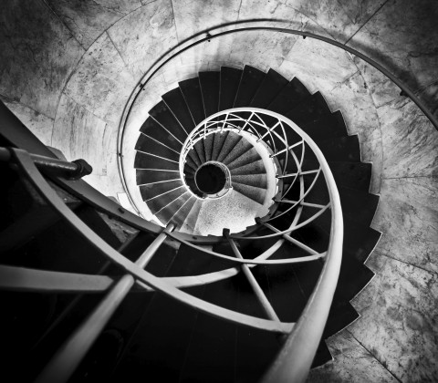 Spiral Stair case in black and white