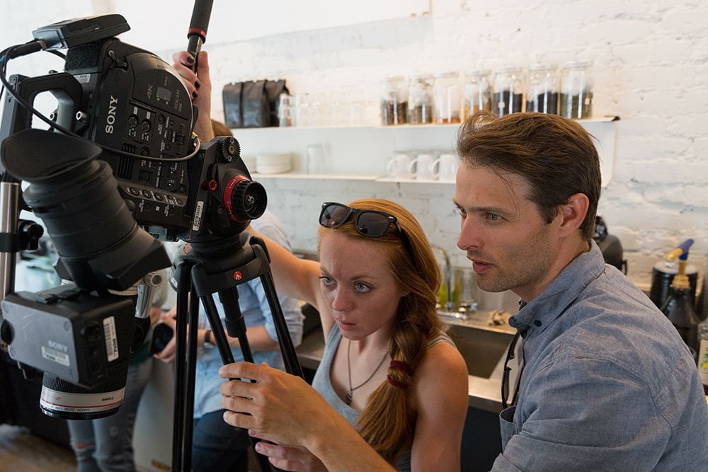 Setting the camera up inside the Contra Cafe