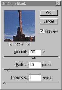 Photoshop Unsharp Mask Control Panel