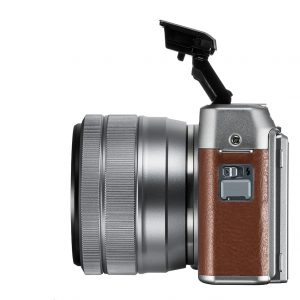 X-A5 Left side with pop-up flash and XC15-45mm lens